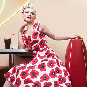 Poppy red prints gives you're the next door girl look to play it safe but in style