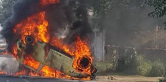 Saharanpur riots Burned car